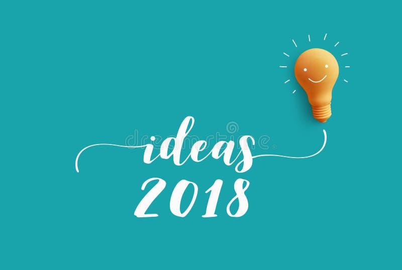 Сообщение 2018 ИДЕЙ с электрической лампочкой идея творческих способностей дела иллюстрация вектора