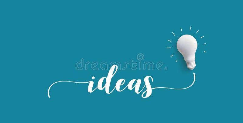 Сообщение ИДЕЙ с электрической лампочкой Творческие способности дела бесплатная иллюстрация