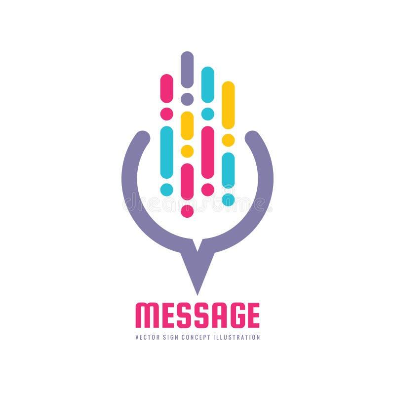 Сообщение - иллюстрация концепции шаблона логотипа вектора в плоском стиле Знак абстрактной связи сети творческий образуйте перег иллюстрация штока