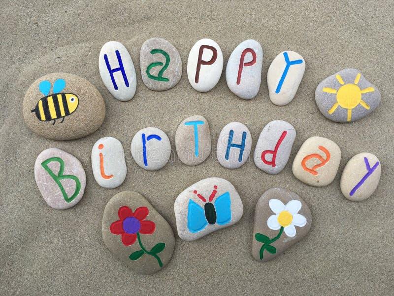 сообщение дня рождения счастливое стоковое изображение