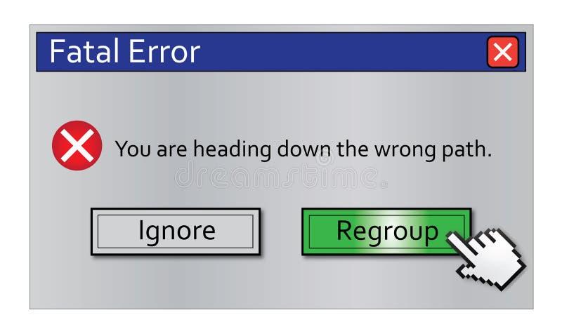 сообщение ошибки перегруппировывает иллюстрация вектора