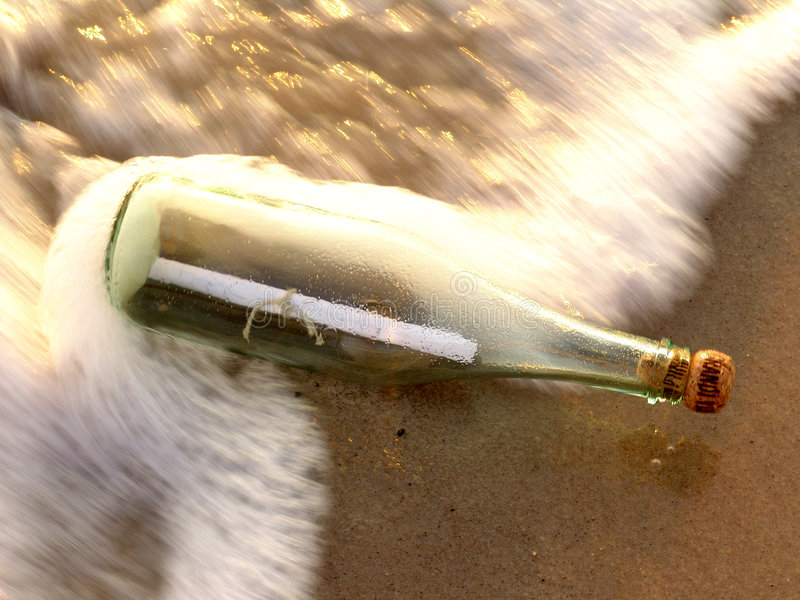 сообщение 3 бутылок стоковое изображение rf