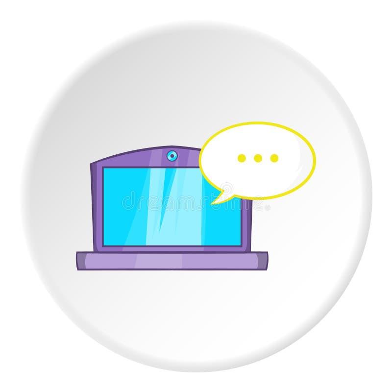 Сообщения на значке компьтер-книжки, стиле шаржа бесплатная иллюстрация