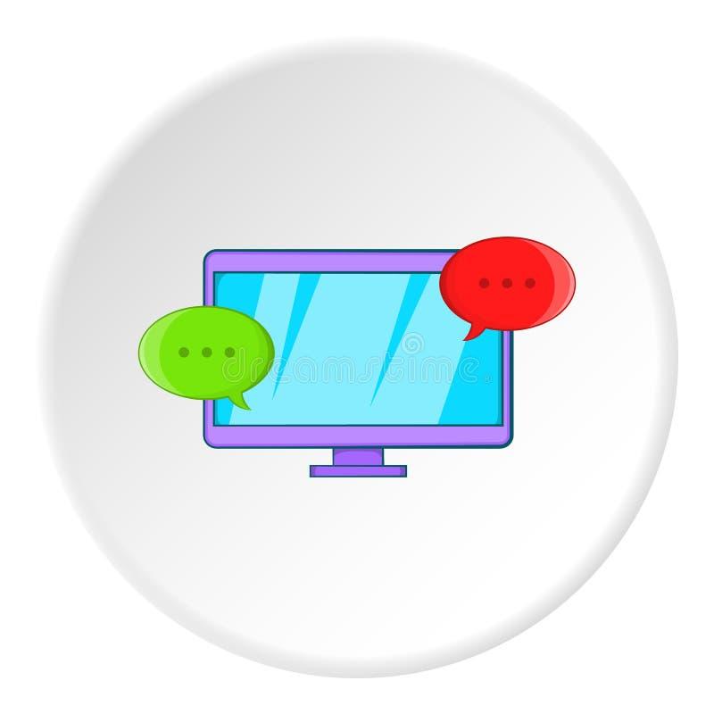 Сообщения на значке компьютера, стиле шаржа иллюстрация вектора