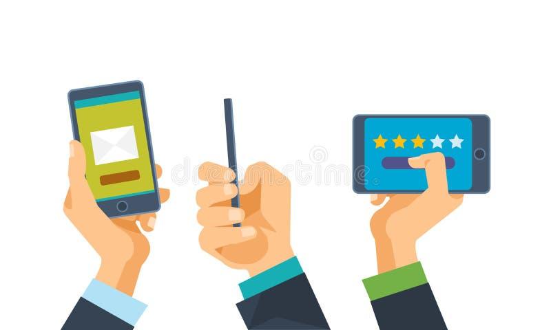 Сообщения, онлайн сообщения и письма, оценка, комментируют Рука держит телефон иллюстрация штока