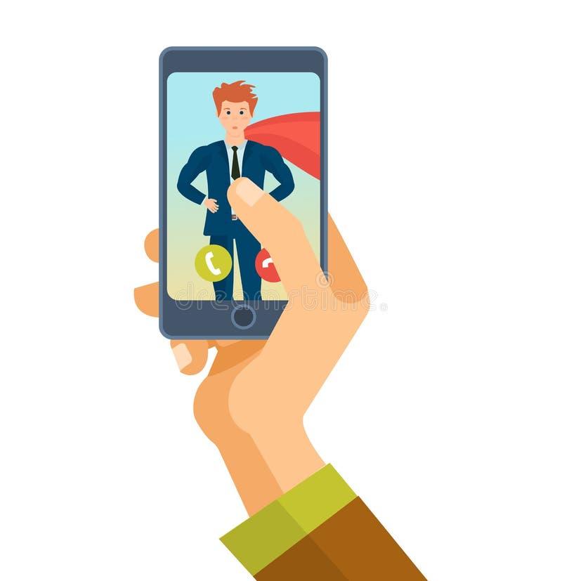 Сообщения, речевая связь на телефоне, немедленных посыльных, онлайн видео- звонке иллюстрация штока