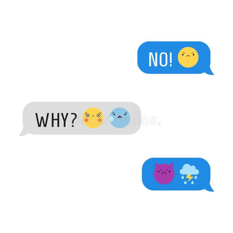 Сообщения с милым emoji и текстом часть 2 иллюстрация штока