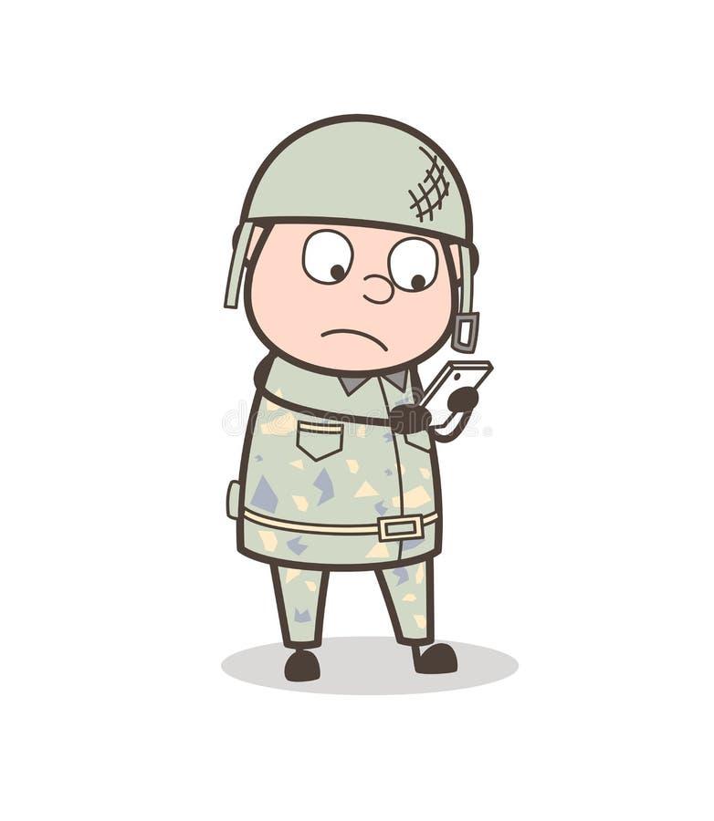 Сообщения чтения офицера армии шаржа в иллюстрации вектора Smartphone бесплатная иллюстрация