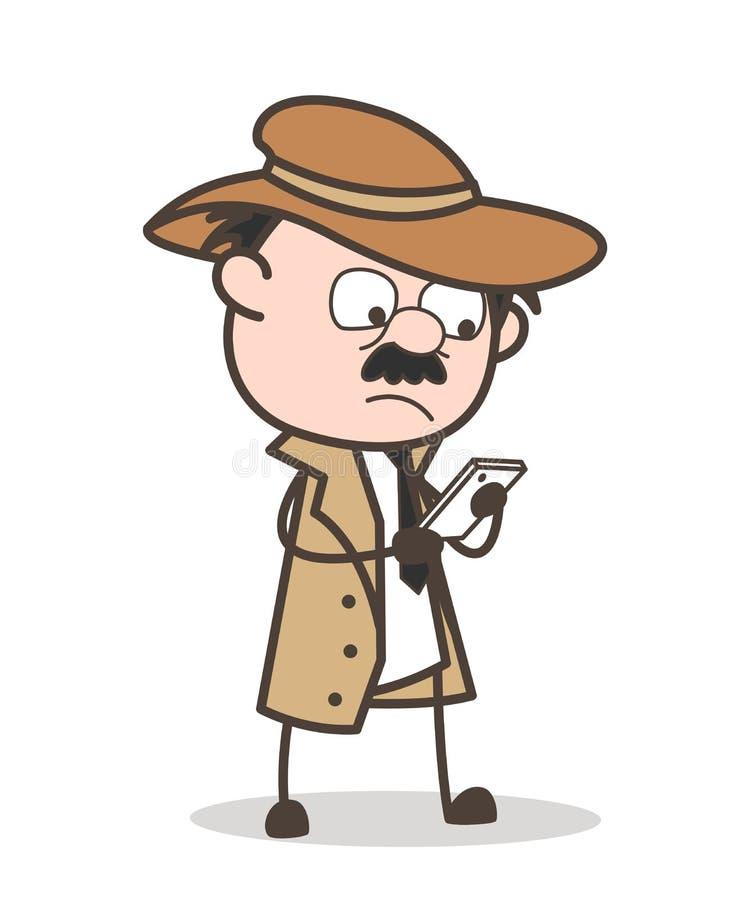 Сообщения чтения шаржа сыщицкие в иллюстрации вектора Smartphone бесплатная иллюстрация