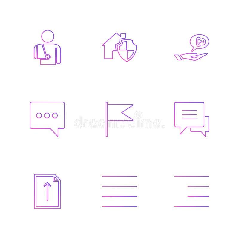 сообщения, электронная почта, документ, диктор, звук, значки eps установили vec иллюстрация вектора