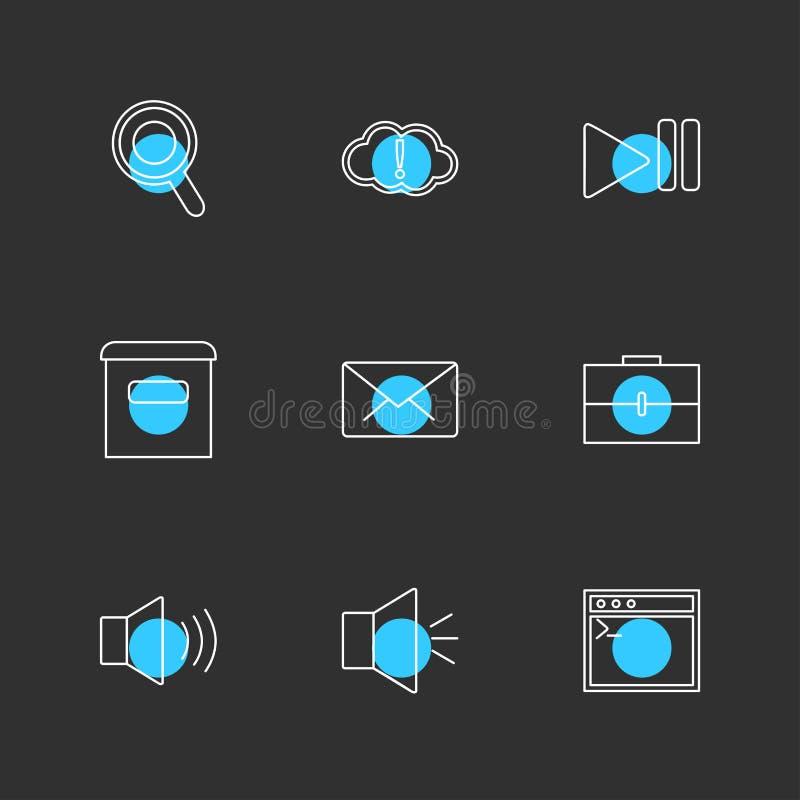 сообщения, электронная почта, документ, диктор, звук, значки eps установили vec иллюстрация штока