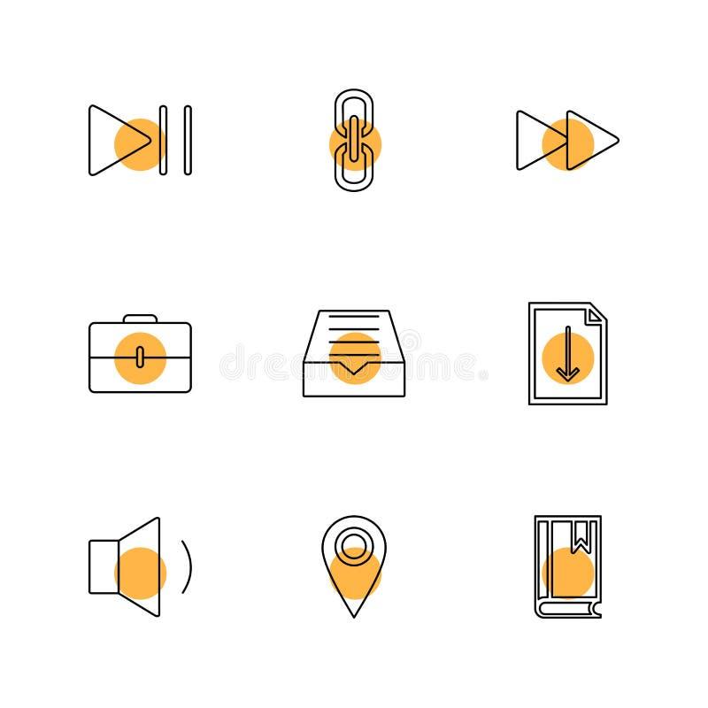 сообщения, электронная почта, документ, диктор, звук, значки eps установили vec бесплатная иллюстрация