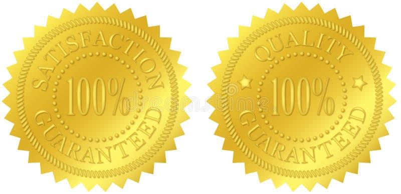 Соответствие и гарантированные качеством уплотнения золота иллюстрация штока