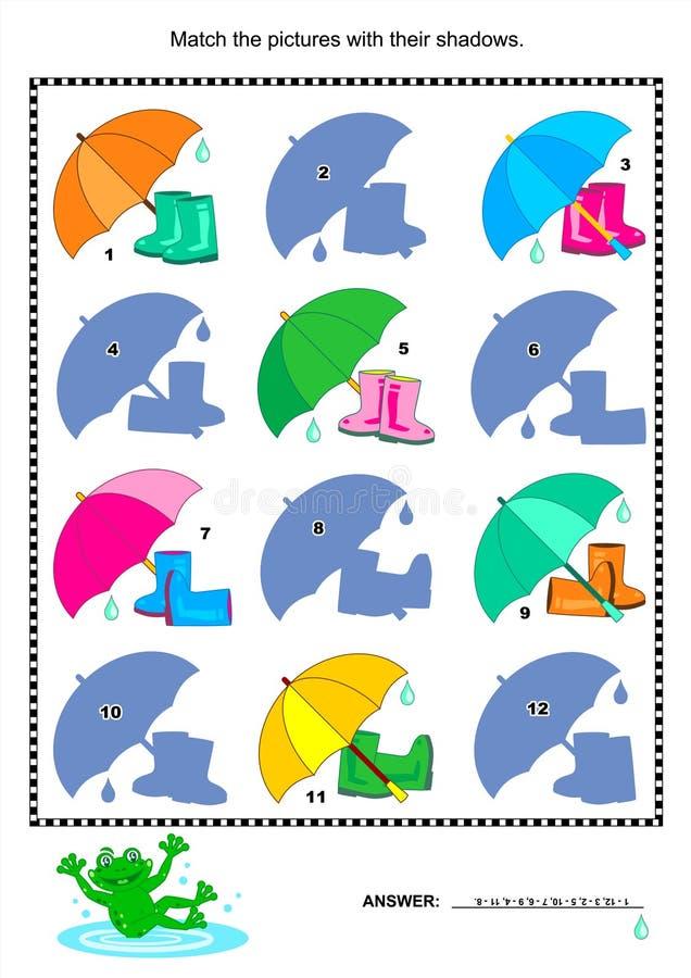 Соответствуйте к головоломке тени визуальной - gumboots, зонтику бесплатная иллюстрация