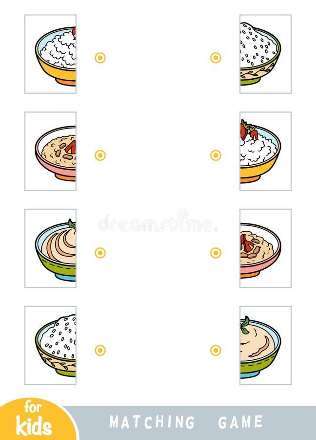 Соответствуя игра, воспитательная игра для детей Спичка половины Набор еды иллюстрация штока