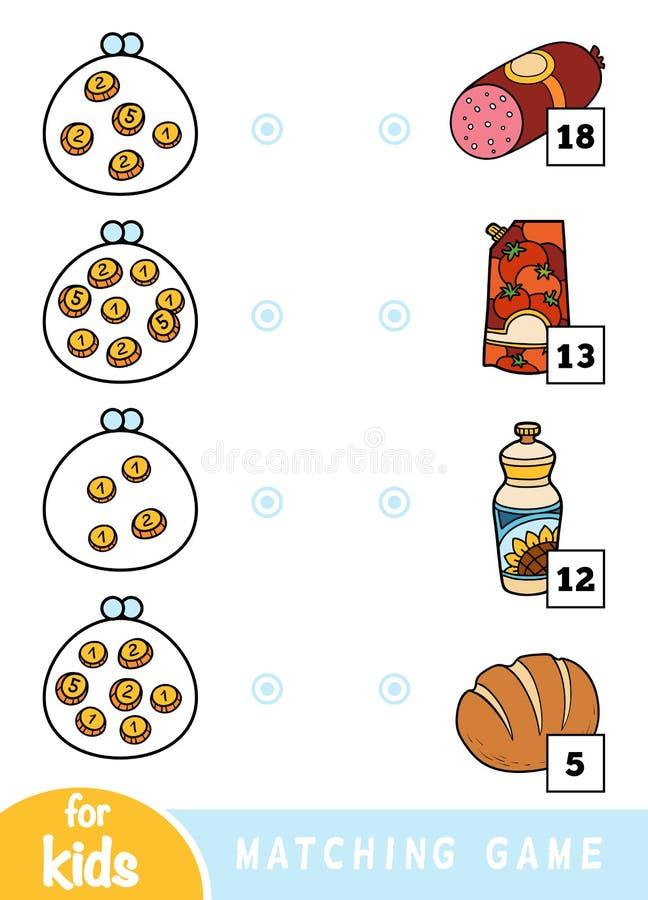 Соответствуя игра для детей Сосчитайте сколько деньги в каждом бумажнике и выберите правильную цену Набор различной еды на иллюстрация штока