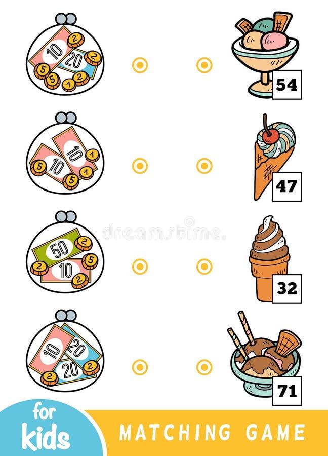 Соответствуя игра для детей Сосчитайте сколько деньги в каждом бумажнике и выберите правильную цену Мороженое установило в кафе иллюстрация штока