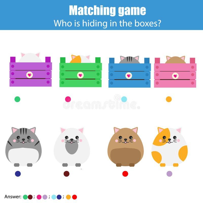 Соответствуя игра образования детей, деятельность при детей Животные спички с коробкой иллюстрация вектора