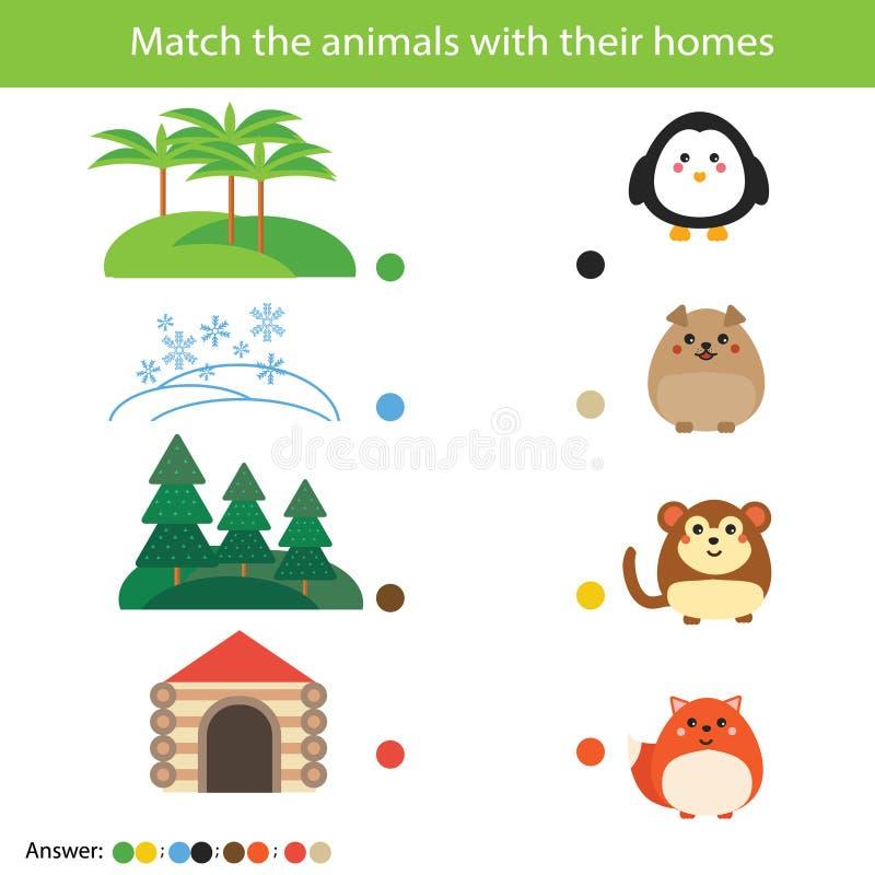 Соответствуя игра образования детей Животные спички с их домами иллюстрация штока