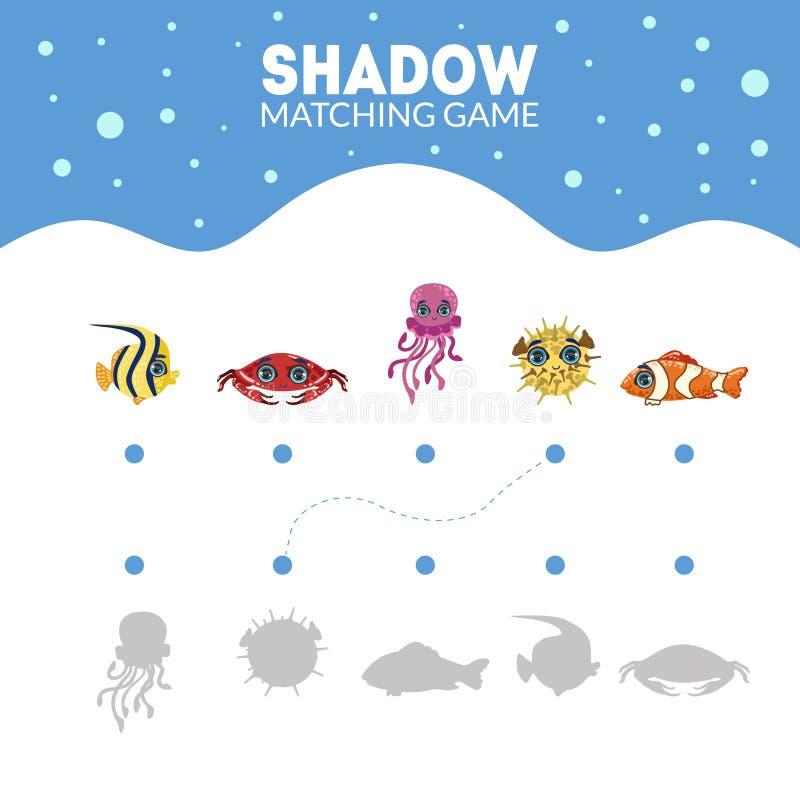 Соответствуя игра с милыми тварями моря, находит игра правильной тени воспитательная для иллюстрации вектора детей бесплатная иллюстрация