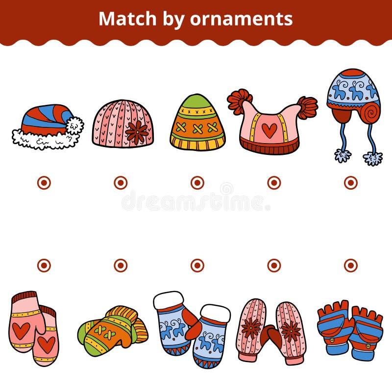Соответствуя игра для детей, соответствует mitten и шляпам ornamen иллюстрация вектора