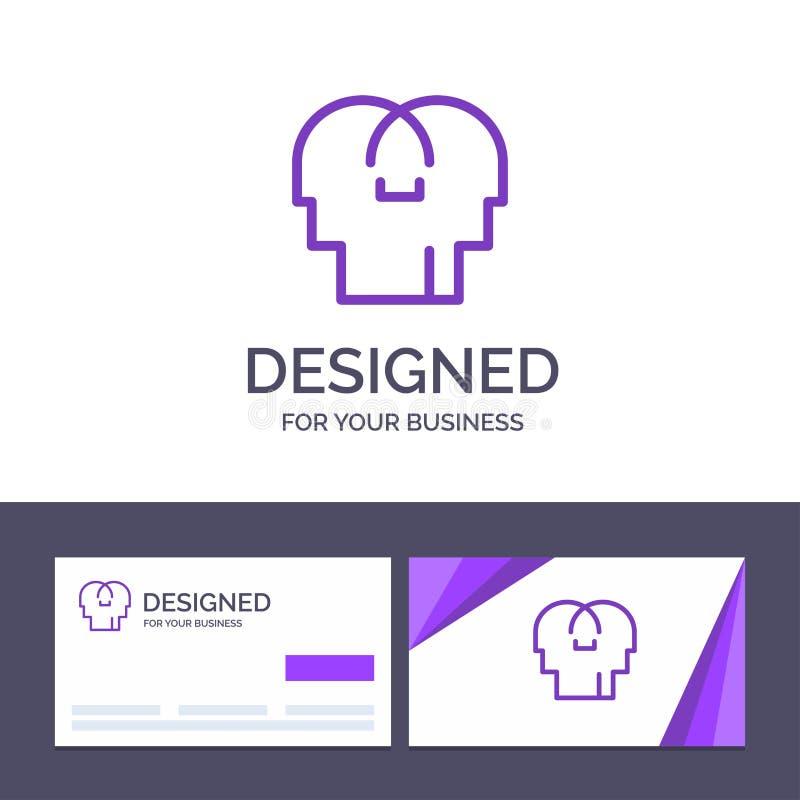 Сопереживание творческого шаблона визитной карточки и логотипа, чувства, разум, главная иллюстрация вектора бесплатная иллюстрация