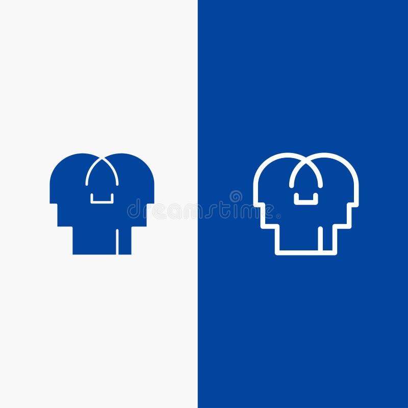 Сопереживание, чувства, значка линии и глифа знамени твердого значка разума, главной линии и глифа знамя голубого твердого голубо иллюстрация вектора
