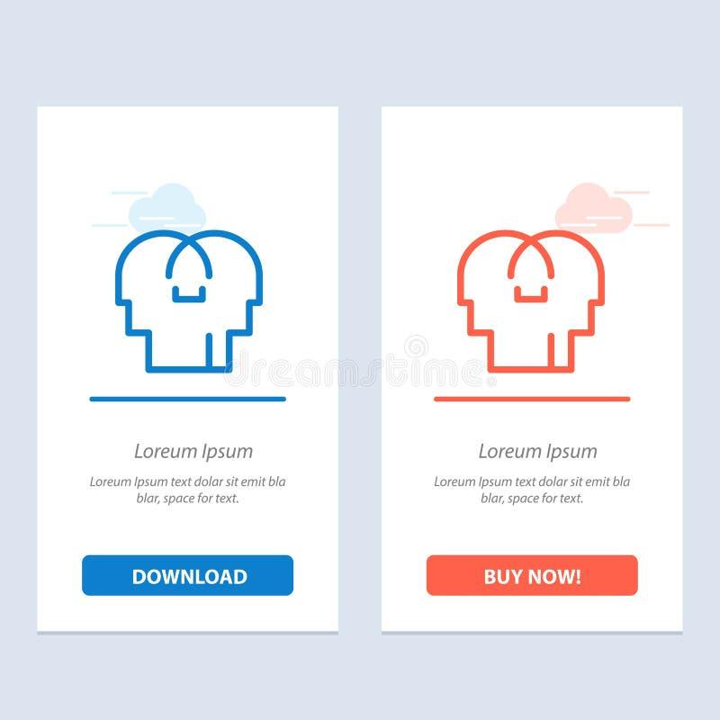 Сопереживание, чувства, разум, главная синь и красная загрузка и купить теперь шаблон карты приспособления сети бесплатная иллюстрация