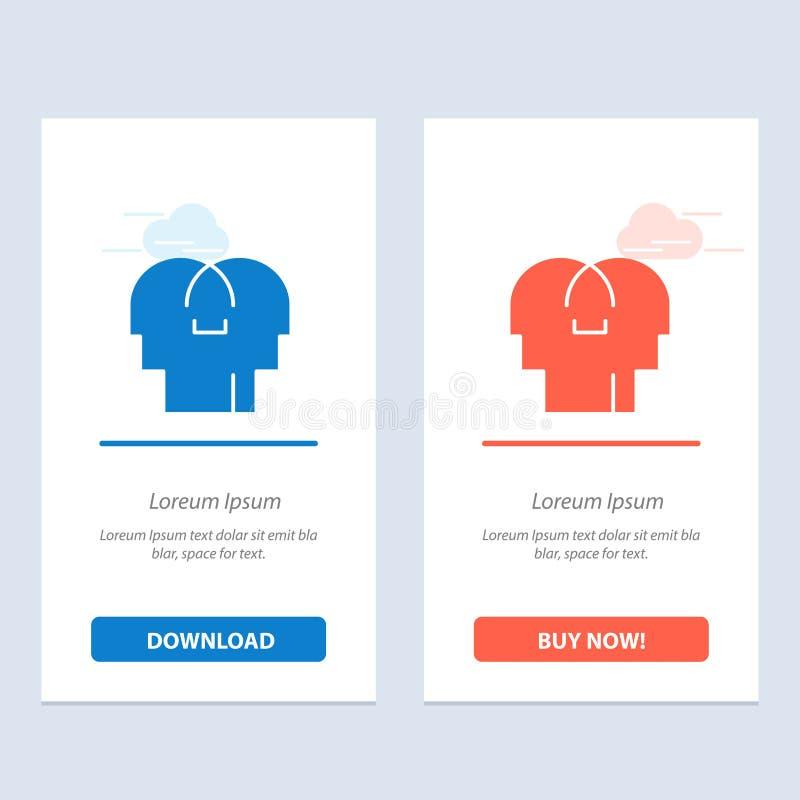 Сопереживание, чувства, разум, главная синь и красная загрузка и купить теперь шаблон карты приспособления сети иллюстрация штока
