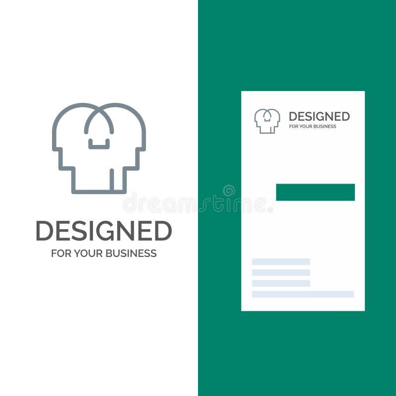 Сопереживание, чувства, разум, главный серый дизайн логотипа и шаблон визитной карточки иллюстрация вектора
