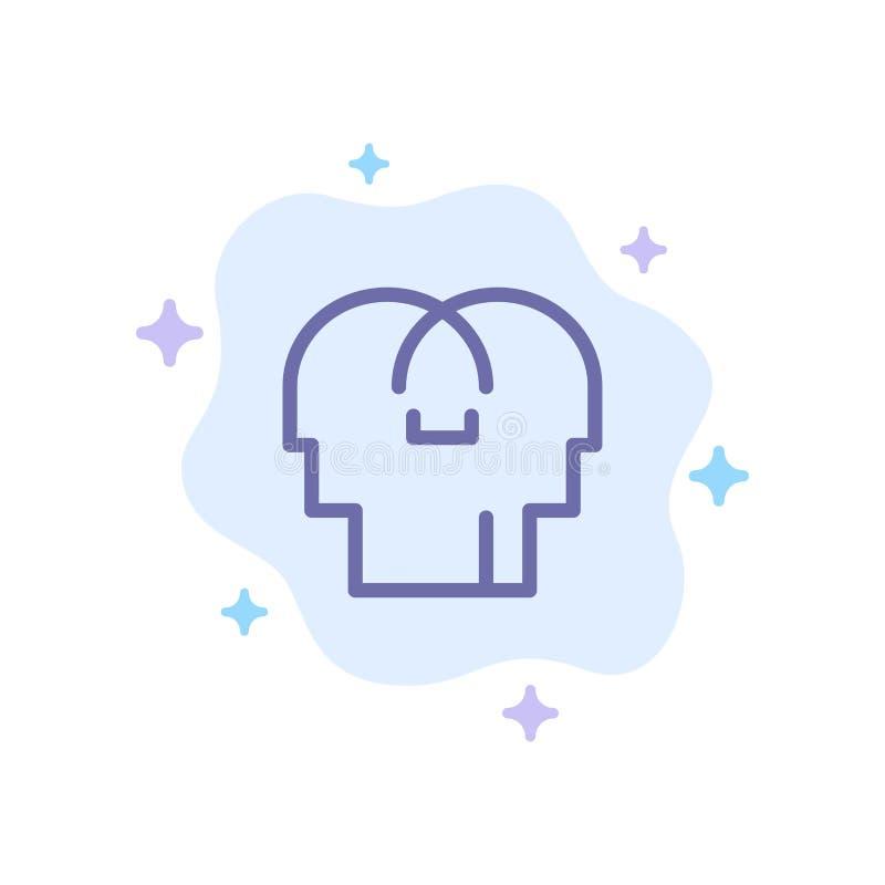Сопереживание, чувства, разум, значок головы голубой на абстрактной предпосылке облака иллюстрация штока