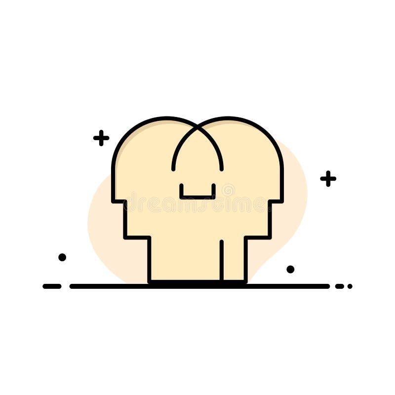 Сопереживание, чувства, разум, линия заполненный шаблон главного дела плоская знамени вектора значка иллюстрация штока