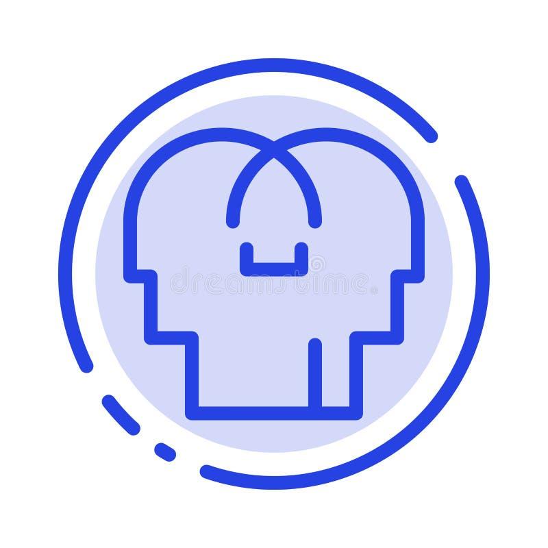 Сопереживание, чувства, разум, линия значок голубой пунктирной линии головы иллюстрация штока