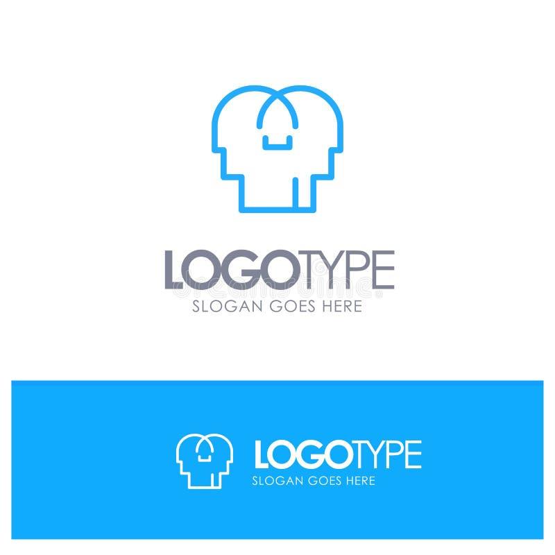 Сопереживание, чувства, разум, место логотипа плана головы голубое для слогана иллюстрация штока