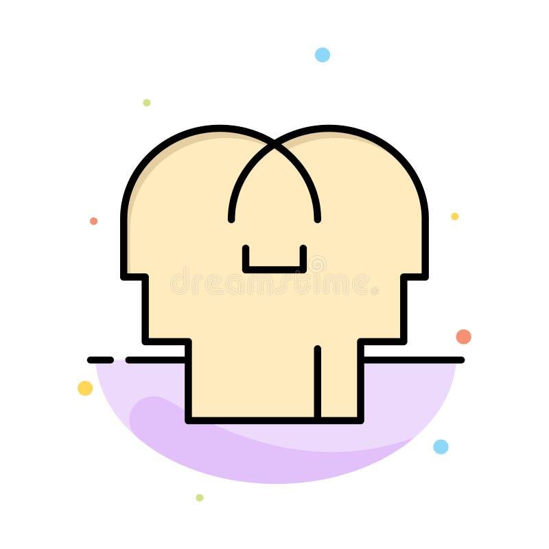 Сопереживание, чувства, разум, шаблон значка цвета конспекта головы плоский бесплатная иллюстрация