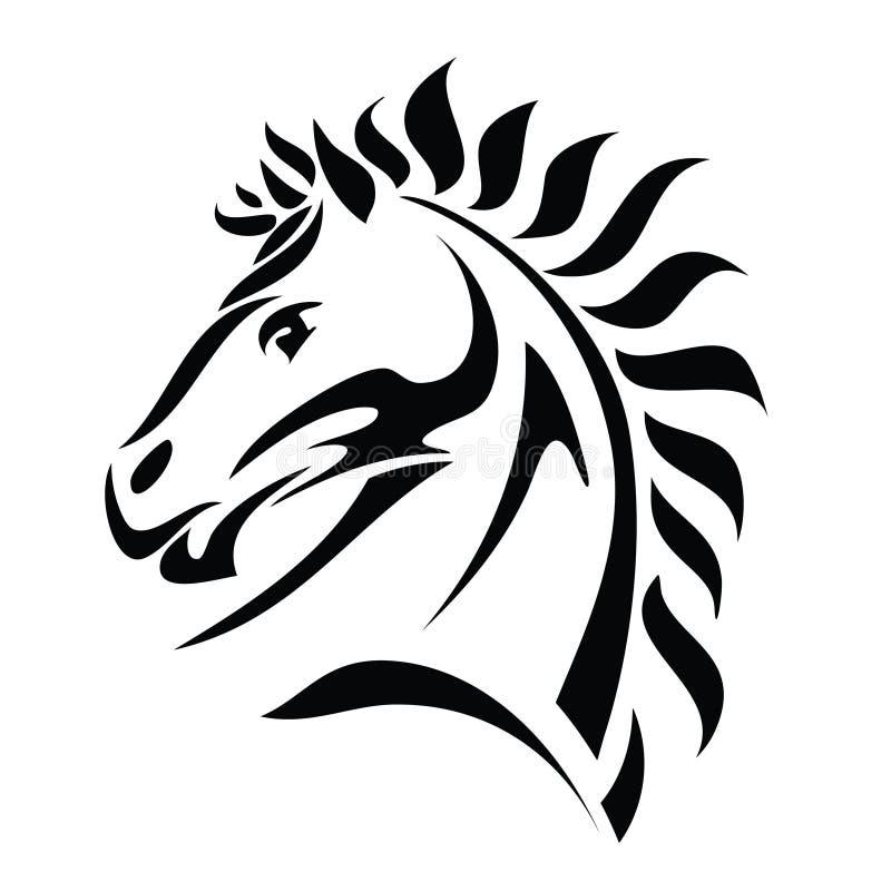 Соплеменный tattoo головки лошади иллюстрация вектора