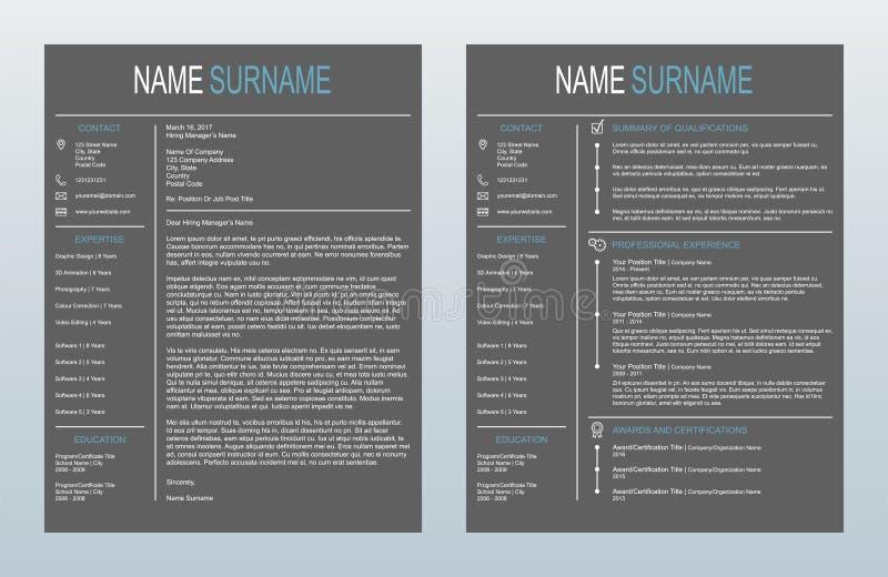 Сопроводительное письмо вектора минималистское творческое и один шаблон страницы Resume/CV на предпосылке угля иллюстрация вектора