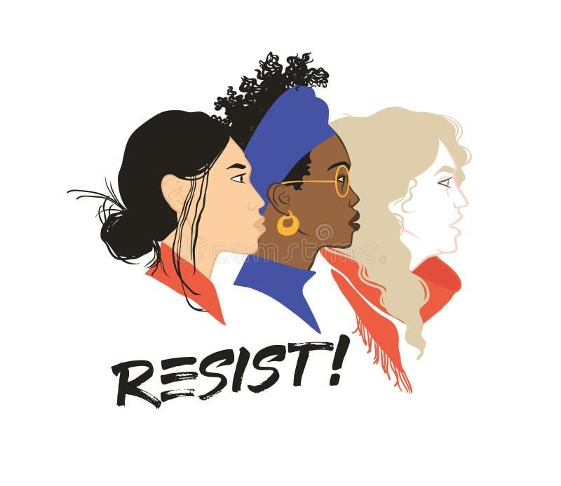 Сопротивляйтесь! Сильный совместно Солидарность девушек Равные права для каждого феминизм иллюстрация вектора