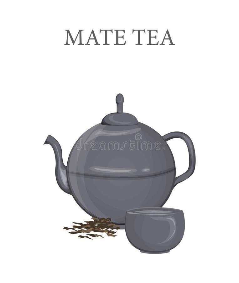 Сопрягайте чай в чайнике и чашке с горячим питьем бесплатная иллюстрация