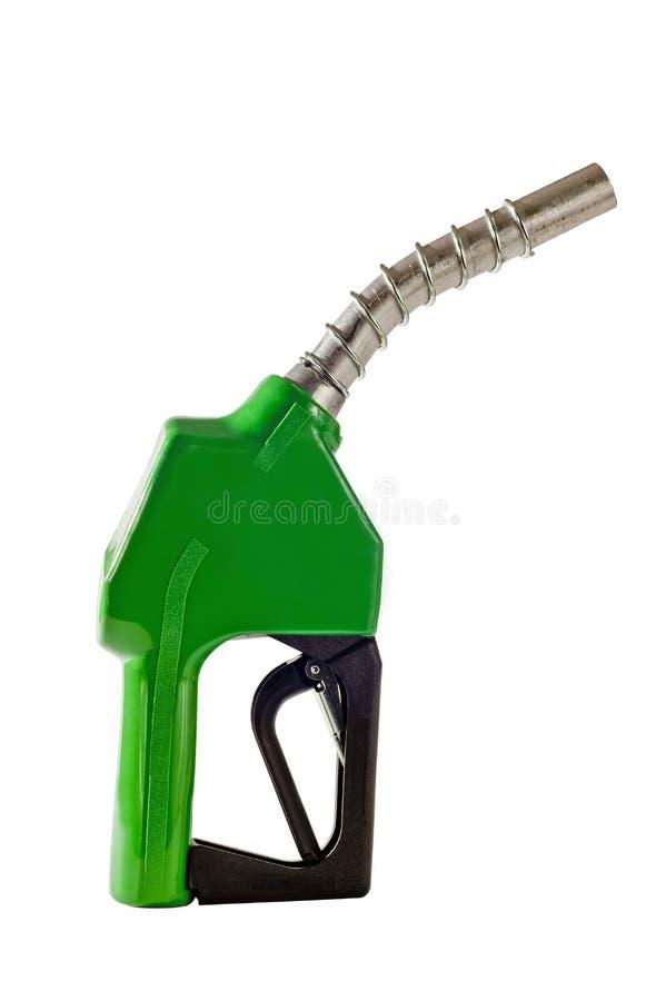 Сопло зеленого бензина дозаправляя от насоса для подачи топлива стоковые фотографии rf