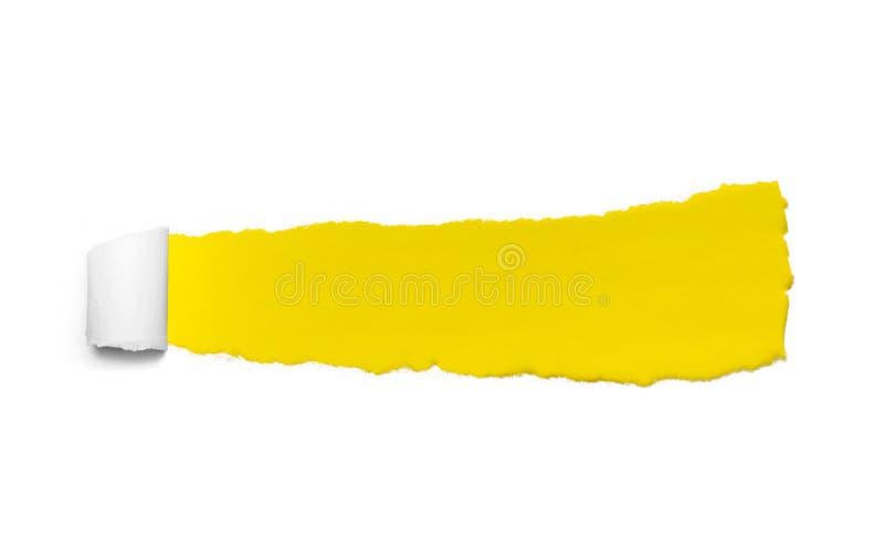 Сорванная белая бумага над желтой предпосылкой цвета Сорванная бумага для рекламы сети стоковая фотография