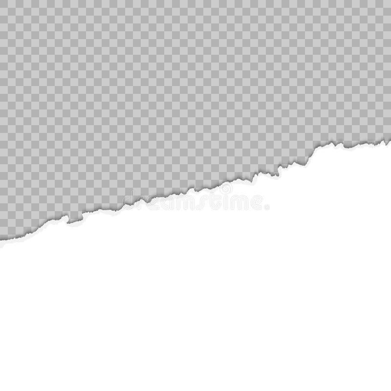 Сорванная бумага половинный лист Белая бумага сорванная сверху Сорванный бумажный шаблон иллюстрация вектора