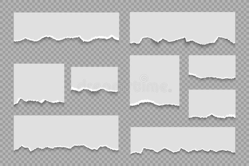 сорванная бумага примечаний Лист белой тетради grungy, реалистический липкий ярлык массажа, сорванный вектор столба картона сорва иллюстрация вектора