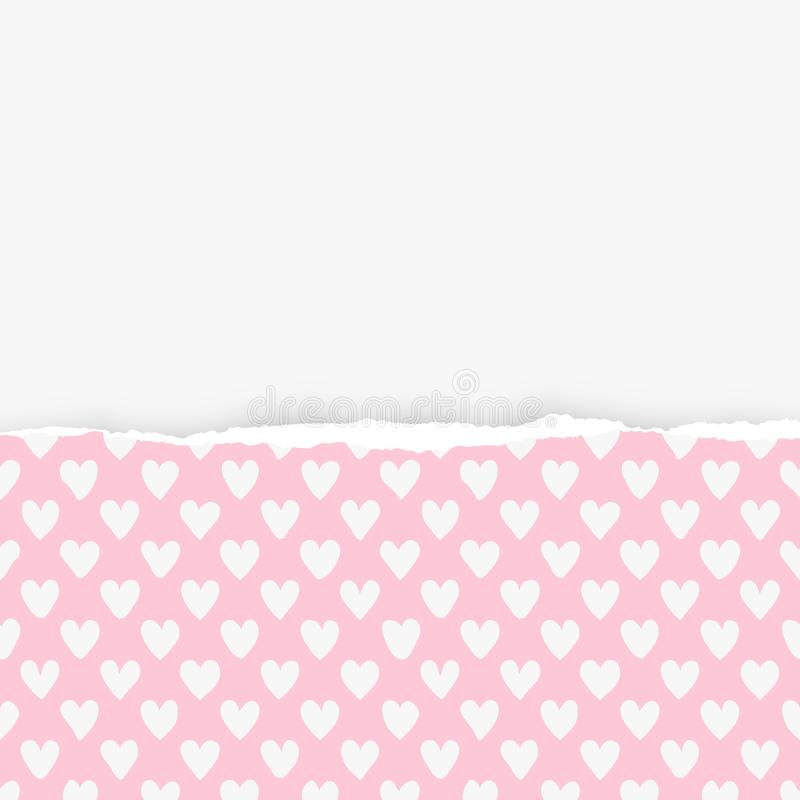 Сорванная горизонтальная розовая бумага с сердцем формирует картину для текста или сообщение на белой предпосылке также вектор ил иллюстрация вектора