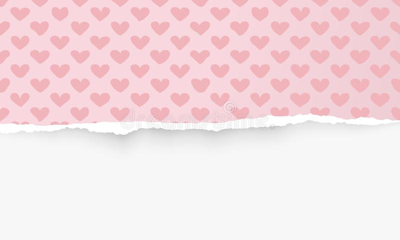 Сорванная горизонтальная розовая бумага с сердцем формирует картину для текста или сообщение на белой предпосылке также вектор ил иллюстрация штока