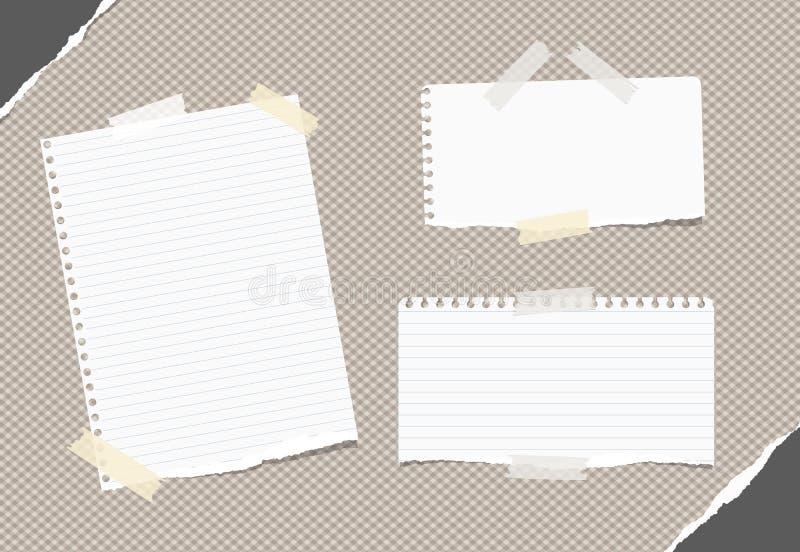 Сорванная управляемая белизна, пустое примечание, тетрадь, листы тетради с прописями вставила с белой липкой лентой на коричневой иллюстрация вектора