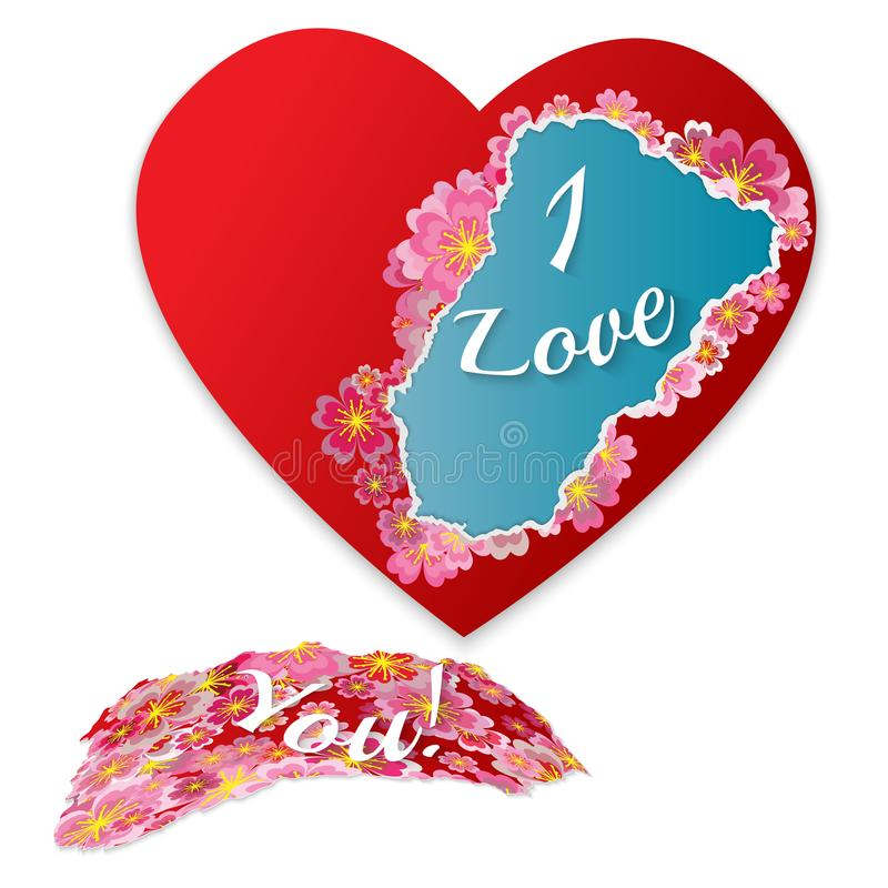 Сорванное бумажное сердце с цветками и фразой - я тебя люблю Fashionab бесплатная иллюстрация