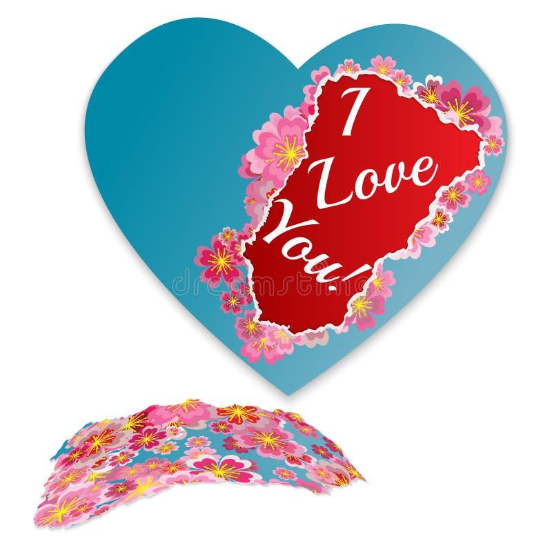 Сорванное бумажное сердце с цветками и фразой - я тебя люблю Fashionab иллюстрация вектора