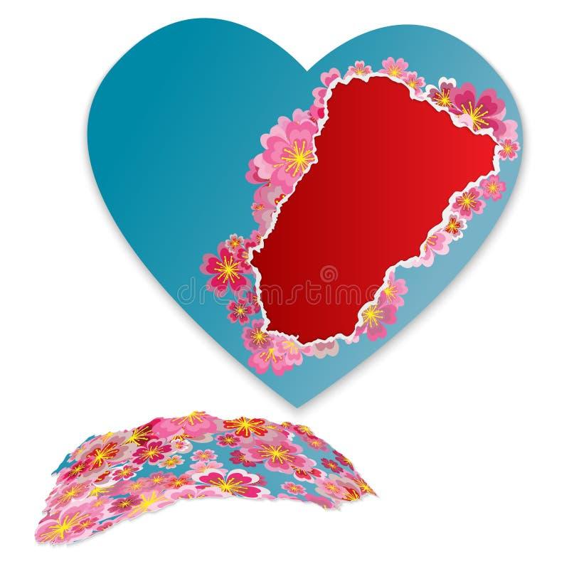 Сорванное сердце бумажных цветков Модная современная рамка для вашего текста иллюстрация штока