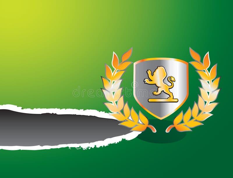 сорванный львев зеленого цвета гребеня знамени бесплатная иллюстрация